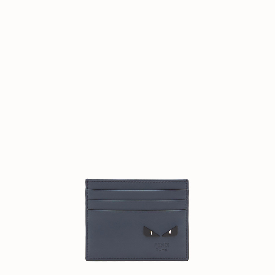 FENDI CARD HOLDER - Blue leather card holder with six slots - view 1 detail