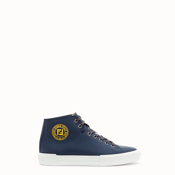 FENDI SNEAKERS - Blue leather high-tops - view 1 small thumbnail
