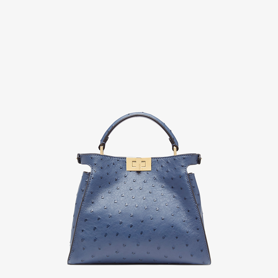 FENDI PEEKABOO ICONIC ESSENTIALLY - Blue ostrich leather bag - view 3 detail