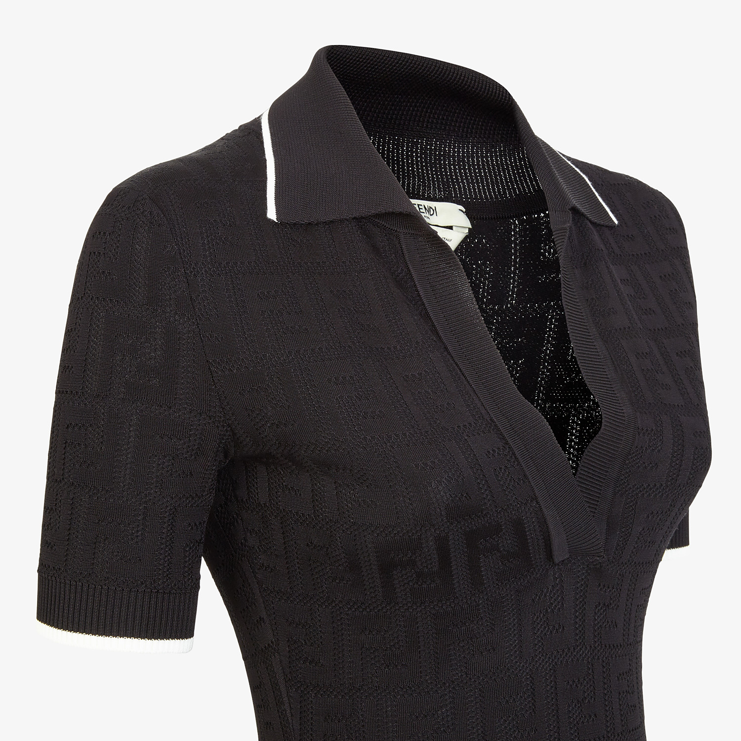 FENDI DRESS - Black viscose and cotton dress - view 3 detail