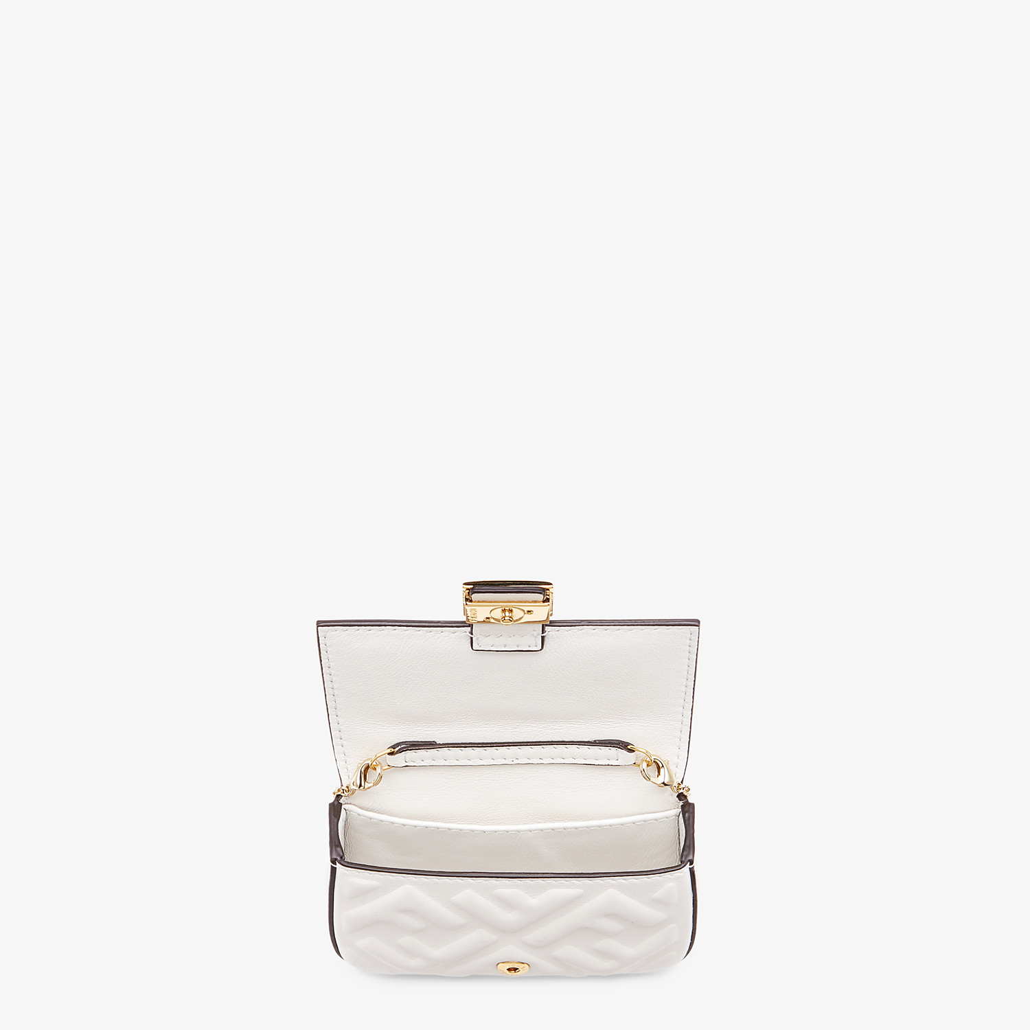 FENDI NANO BAGUETTE CHARM - White nappa leather charm - view 4 detail