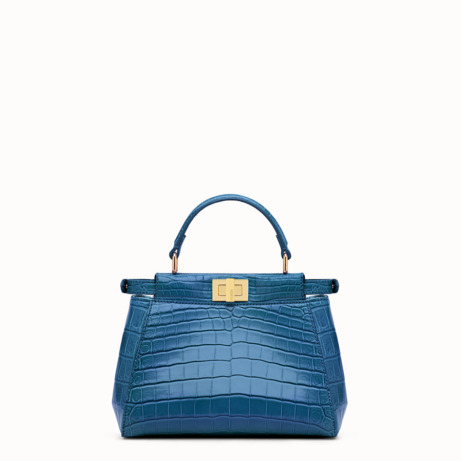FENDI PEEKABOO MINI - Blue crocodile leather handbag. - view 3 detail