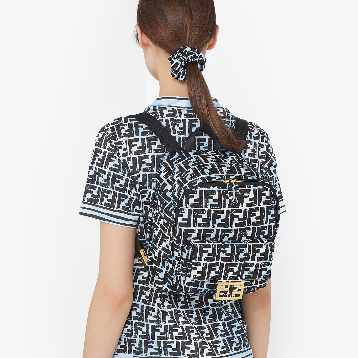 FENDI BAGUETTE BACKPACK - FF print nylon backpack - view 2 detail