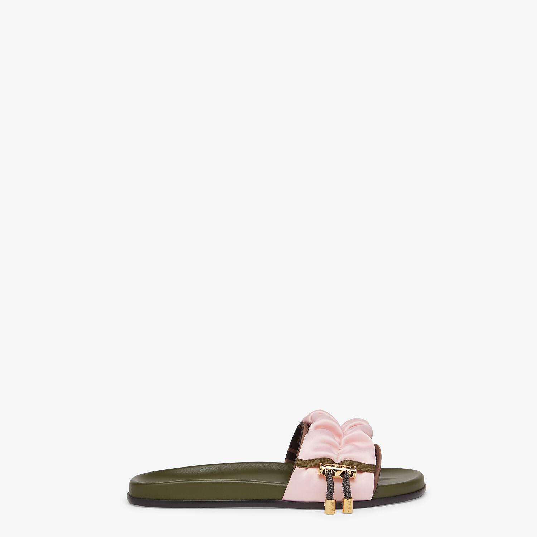 FENDI VERTIGO - Pink satin slides - view 1 detail