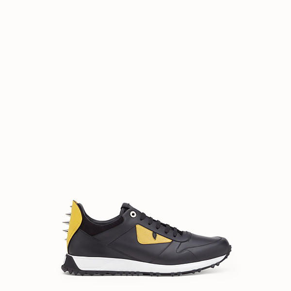 FENDI BAG BUGS SNEAKERS - lace-up shoes in black leather with inlay - view 1 small thumbnail