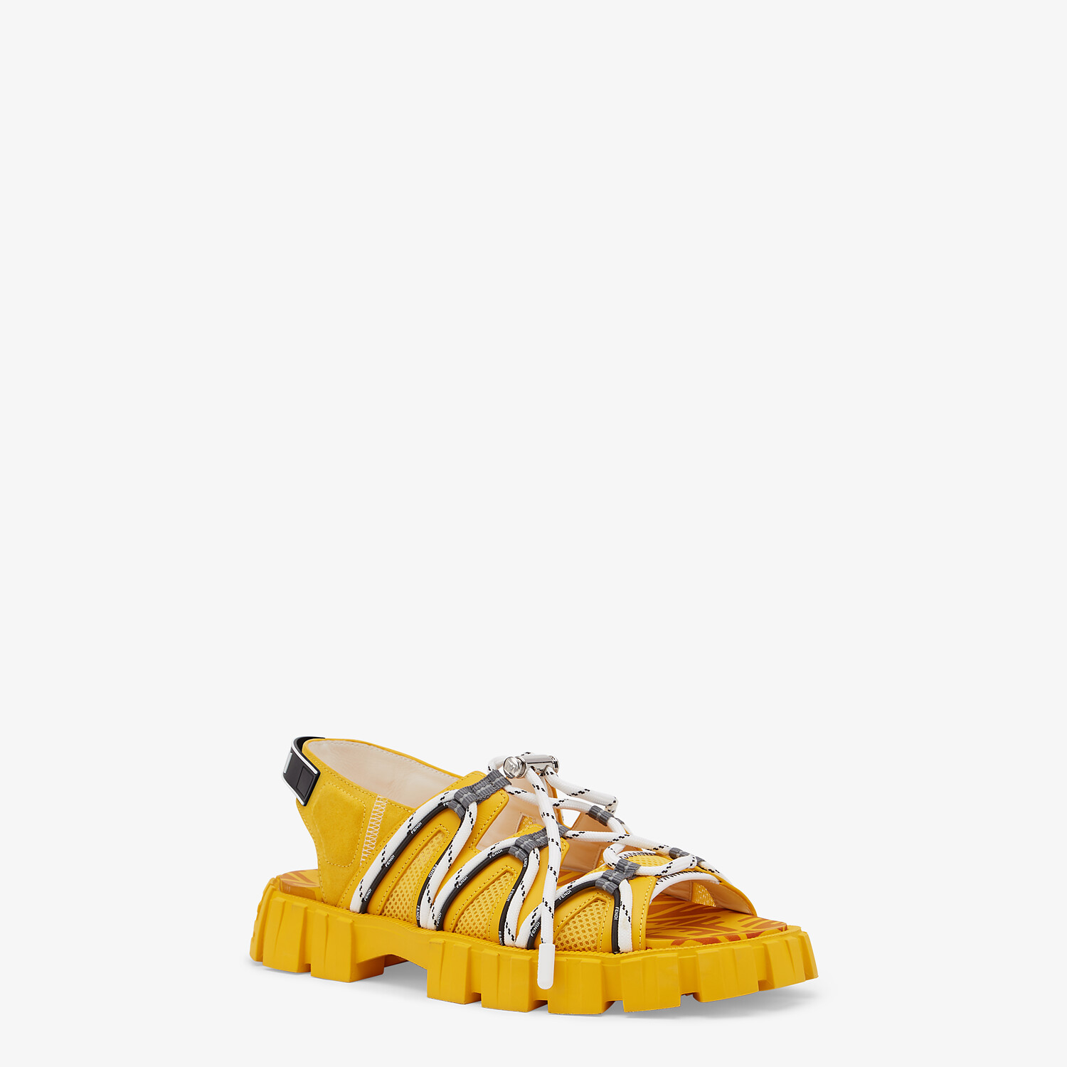FENDI SANDALS - Yellow leather and tech mesh sandals - view 2 detail