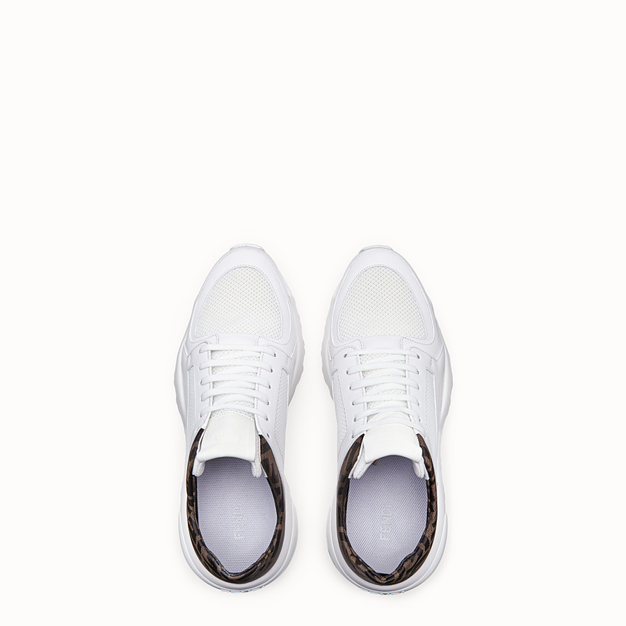 FENDI SNEAKERS - White tech mesh and leather low-tops - view 4 detail