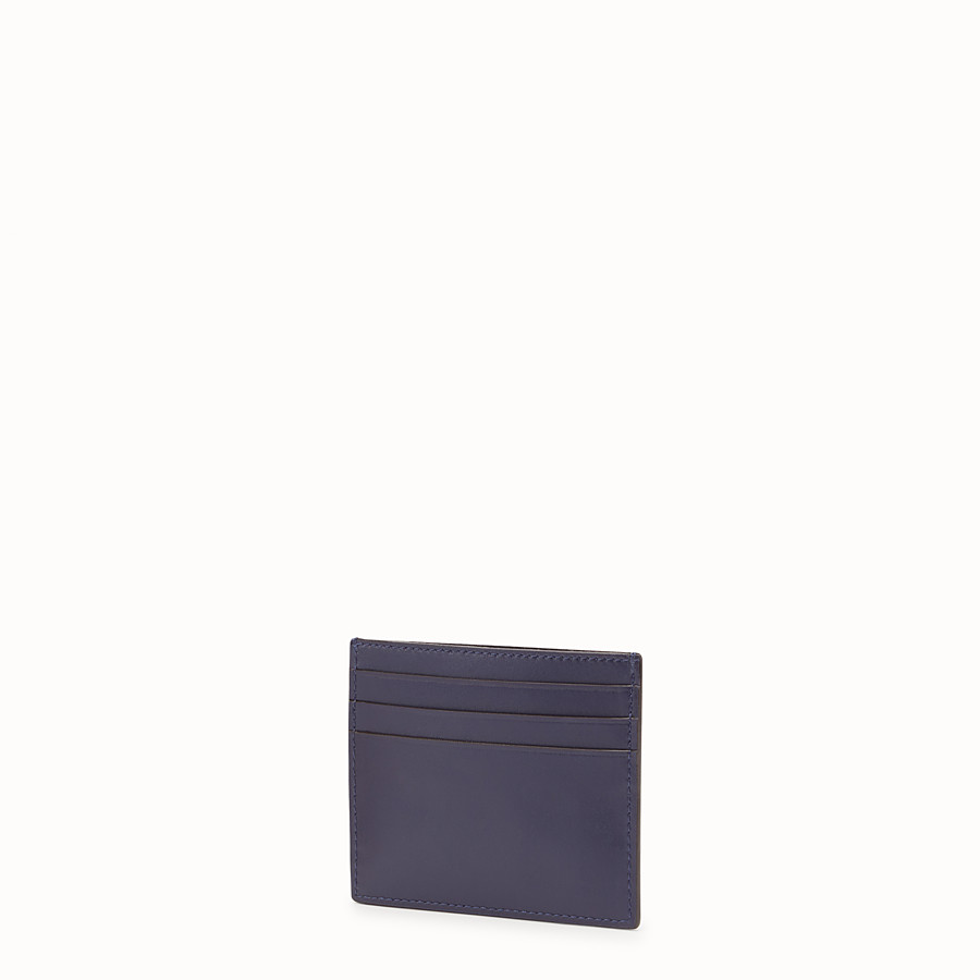 FENDI CARD HOLDER - Blue leather flat card holder - view 2 detail