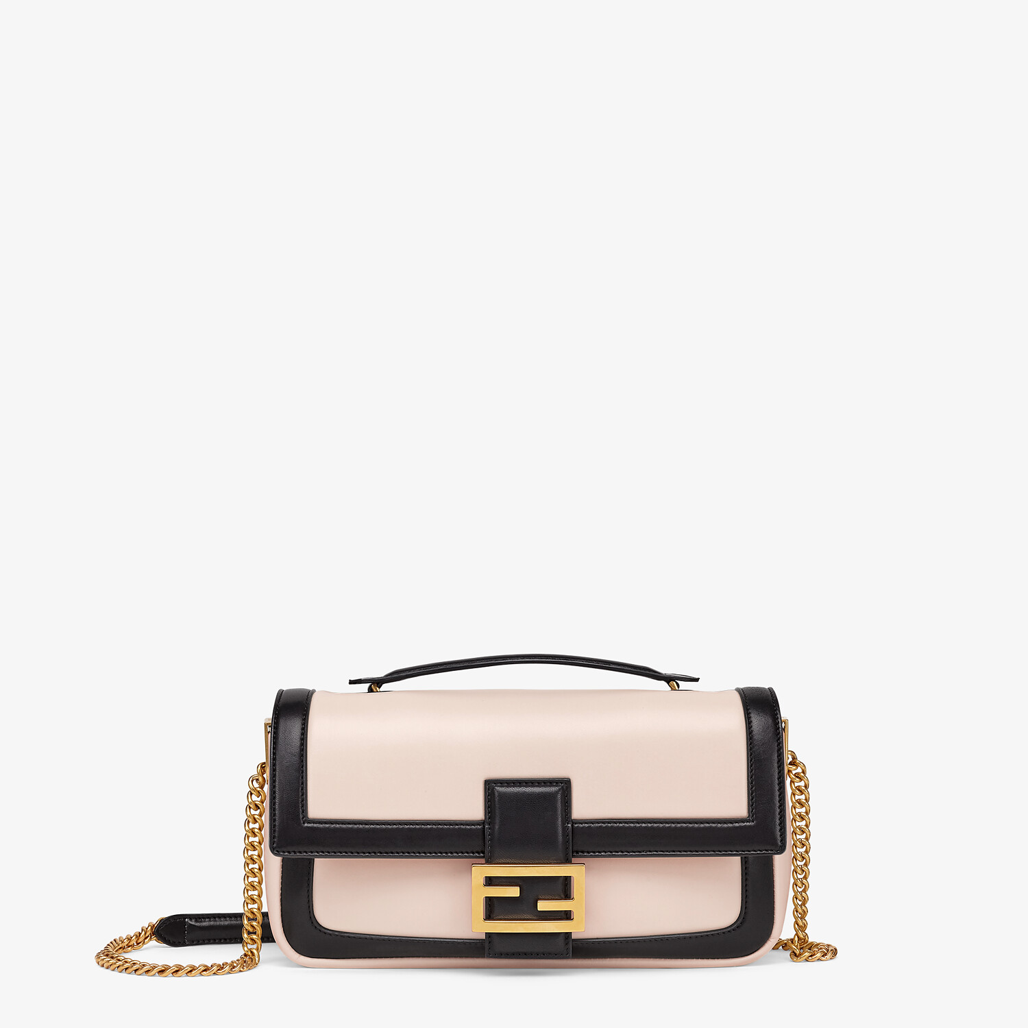 FENDI BAGUETTE CHAIN - Pink and black nappa leather bag - view 1 detail