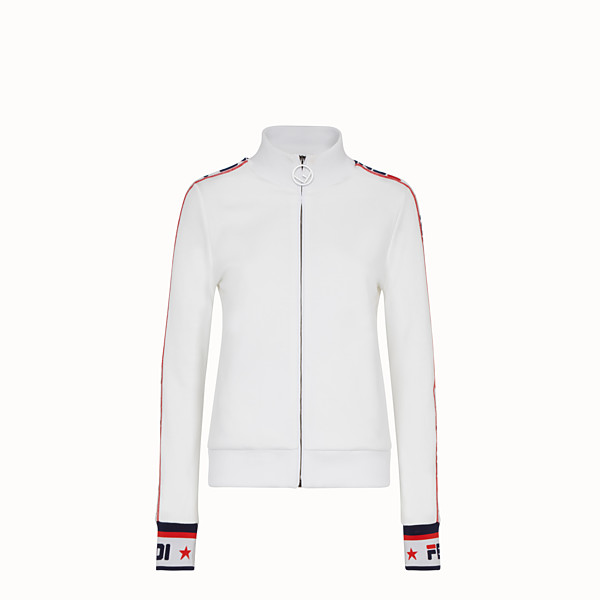 FENDI SWEATSHIRT WITH ZIP - White cotton jersey sweatshirt - view 1 small thumbnail