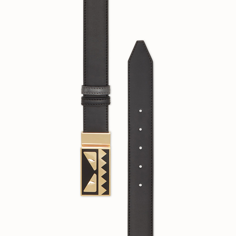 FENDI BELT - Black and grey leather belt - view 2 detail