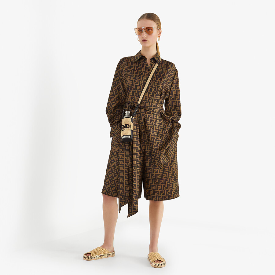 FENDI DRESS - Brown twill dress - view 4 detail