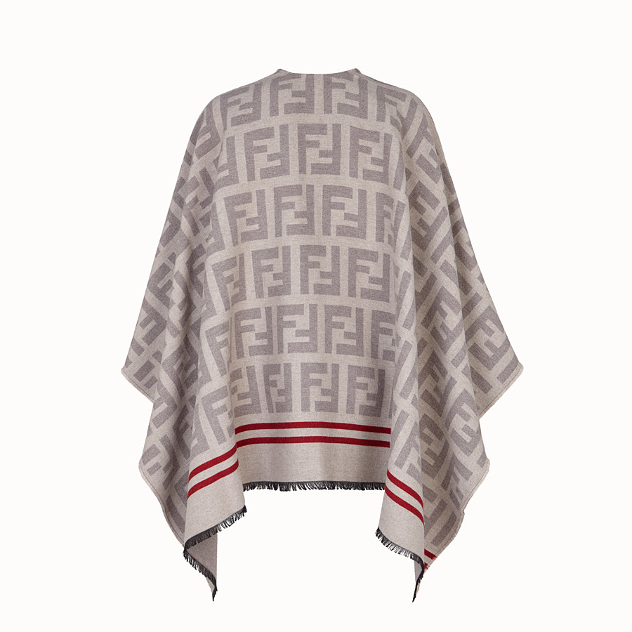 FENDI FF PONCHO - Poncho in beige wool and silk - view 2 detail
