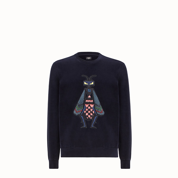 FENDI SWEATSHIRT - Blue chenille pullover - view 1 small thumbnail