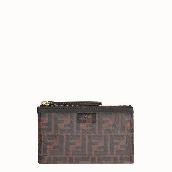 FENDI SMALL FLAT POUCH - Tech mesh brown bag - view 1 small thumbnail