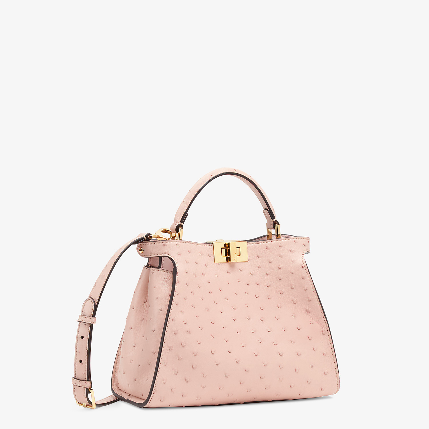 FENDI PEEKABOO ICONIC ESSENTIALLY - Pink ostrich leather bag - view 2 detail