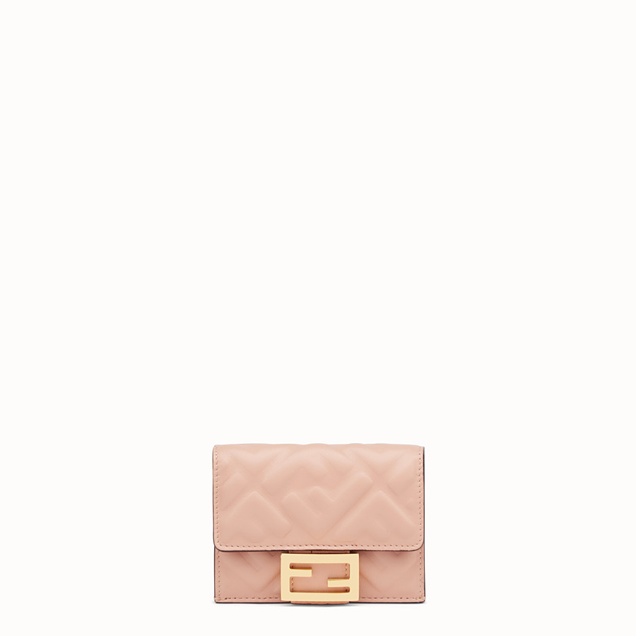 FENDI MICRO TRIFOLD - Portemonnaie aus Nappaleder in Rosa - view 1 detail