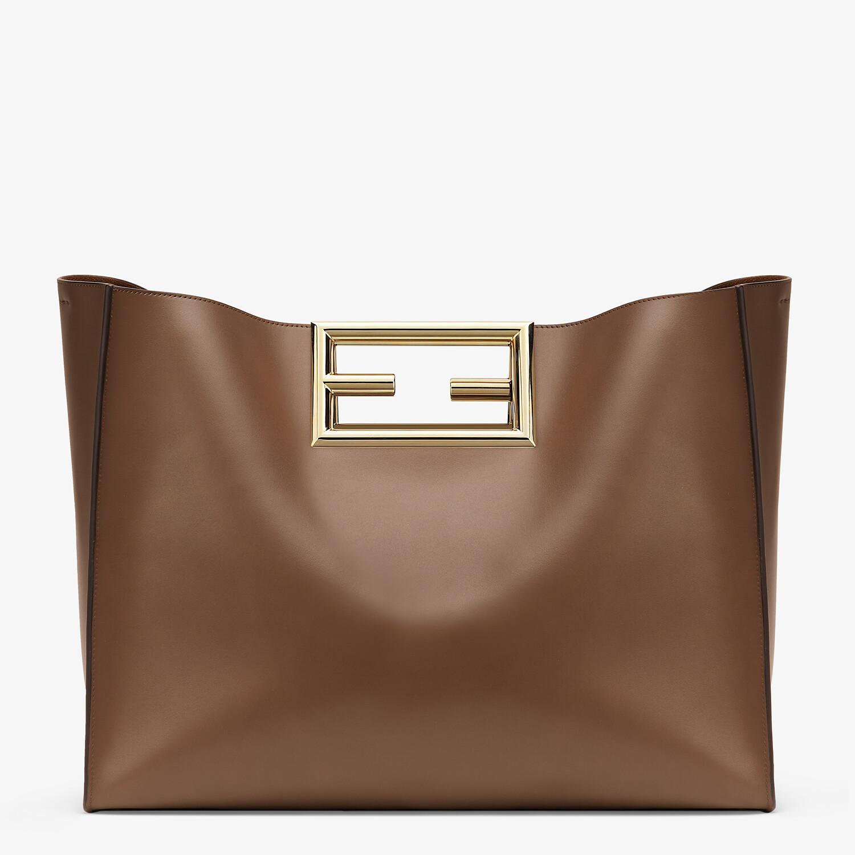 FENDI FENDI WAY LARGE - Dark brown leather bag - view 1 detail
