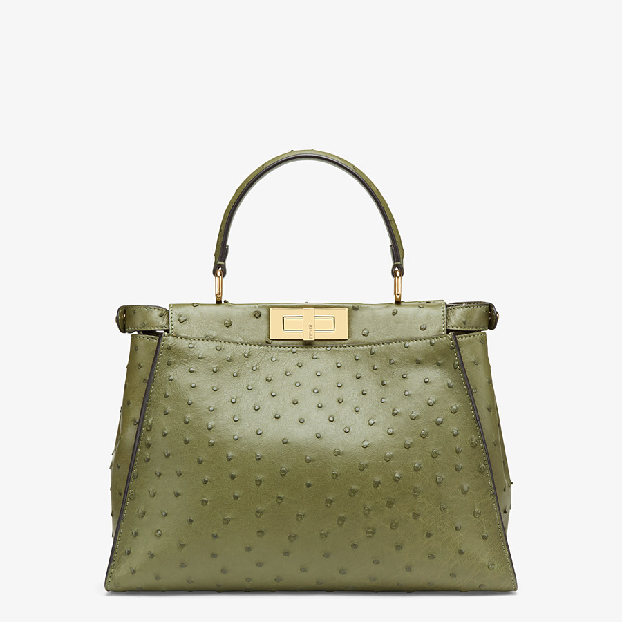 FENDI PEEKABOO ICONIC MEDIUM - Green ostrich leather bag - view 3 detail