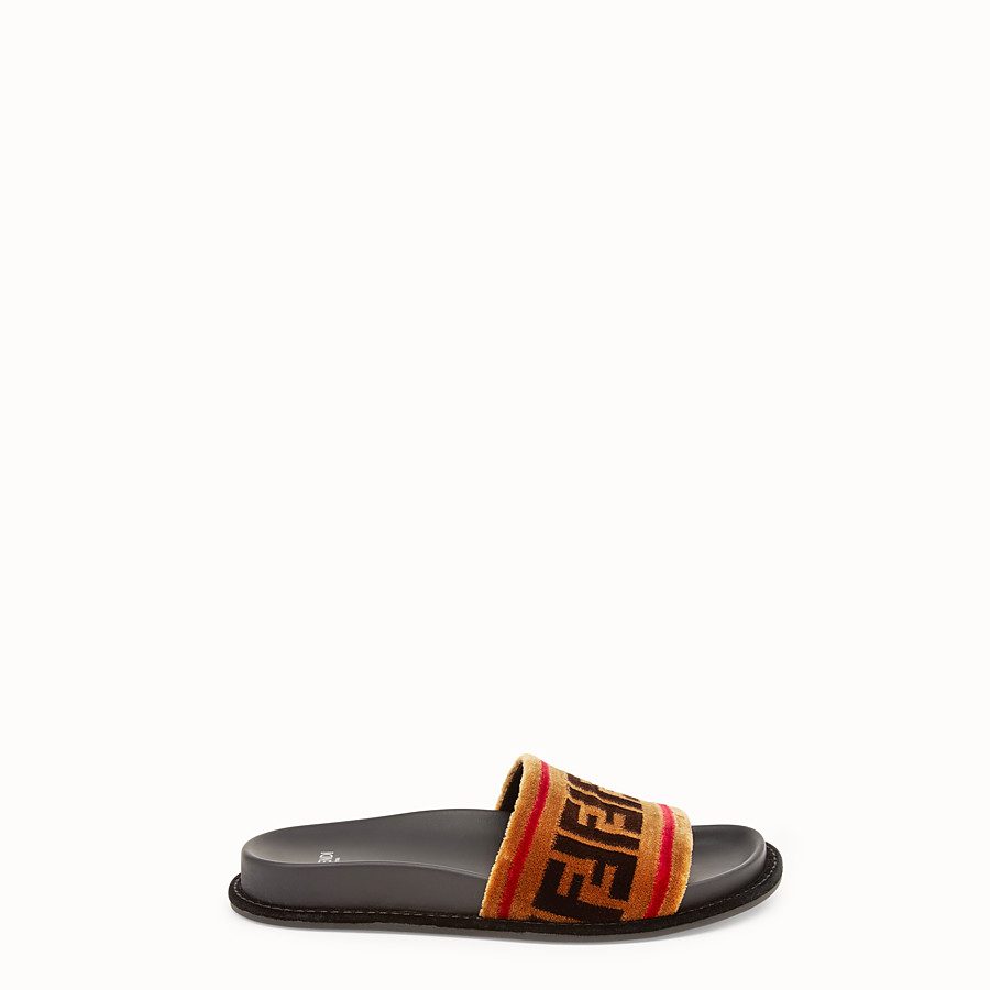 FENDI SLIDES - Multicolor fabric flats - view 1 detail
