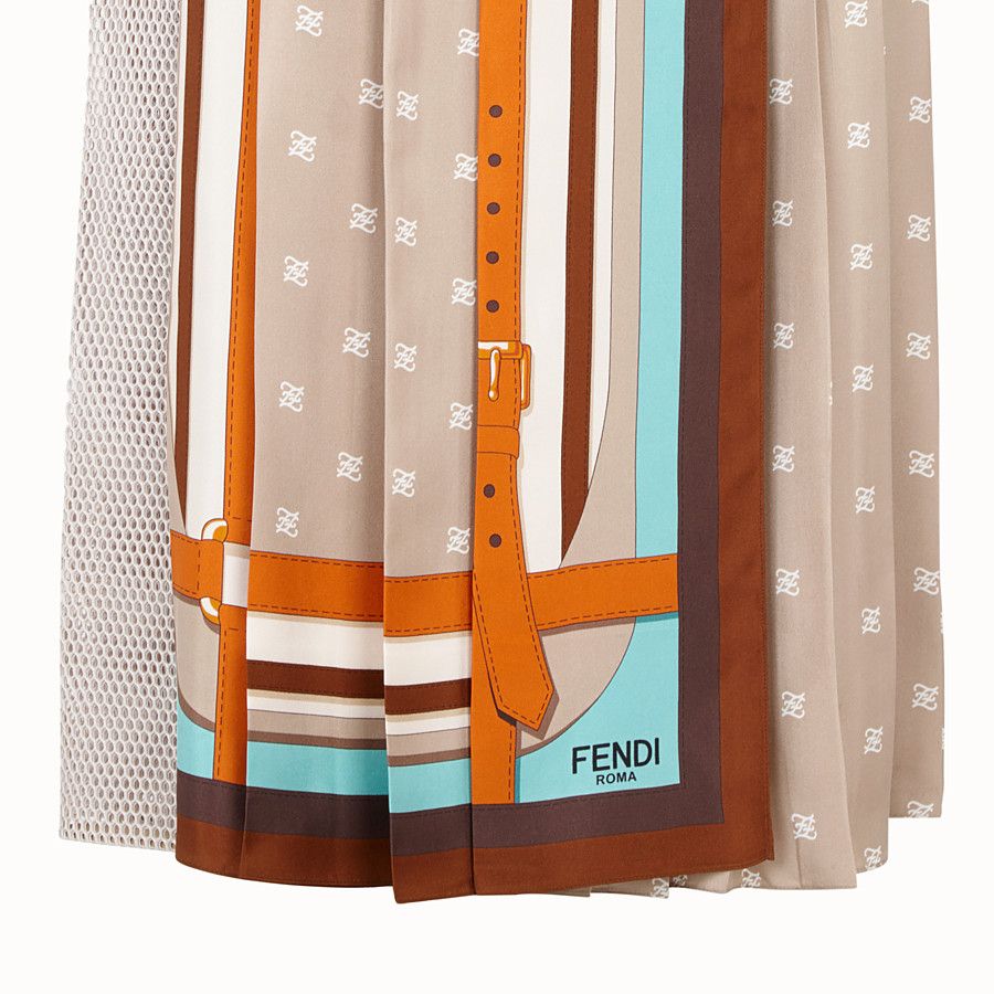 FENDI SKIRT - Beige silk skirt - view 3 detail