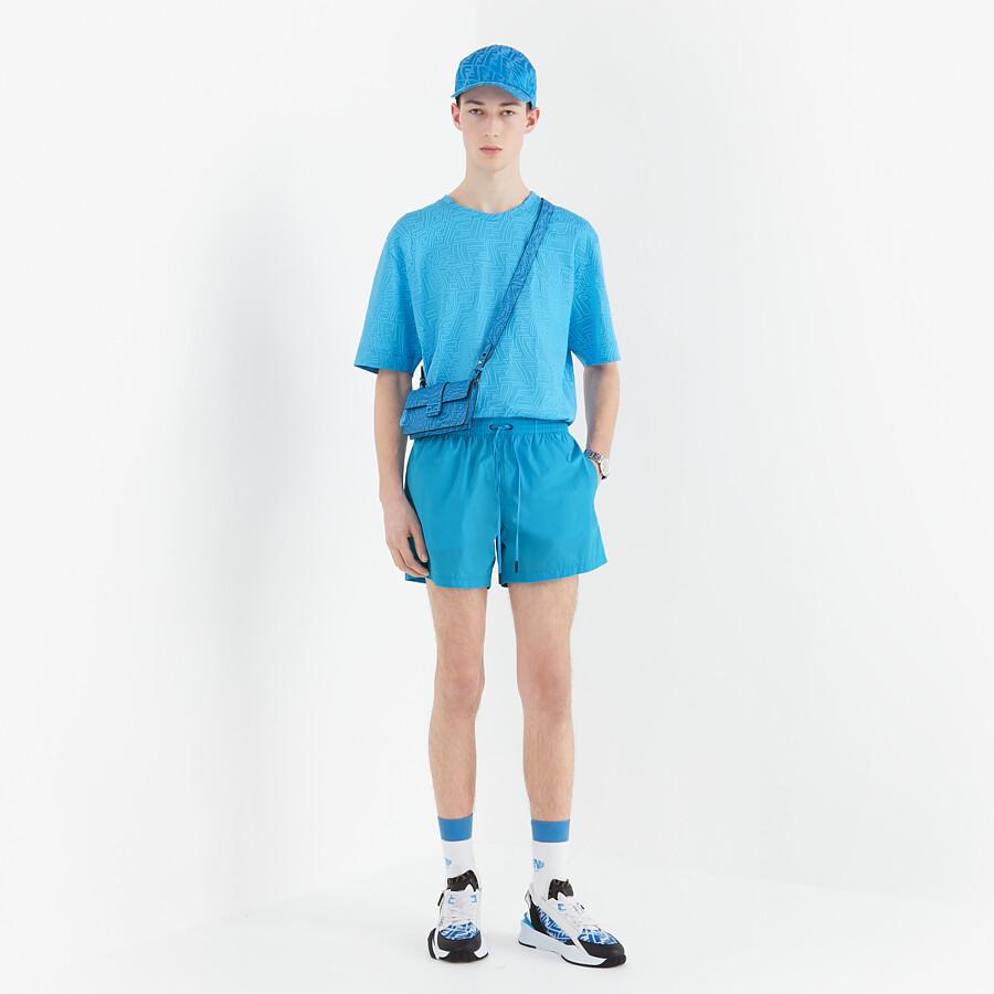 FENDI SWIM SHORTS - Light blue Lycra® shorts - view 4 detail