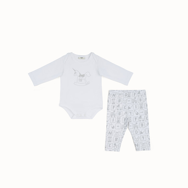 FENDI BABY SHOWER KIT - Baby shower kit in white and grey jersey - view 1 small thumbnail