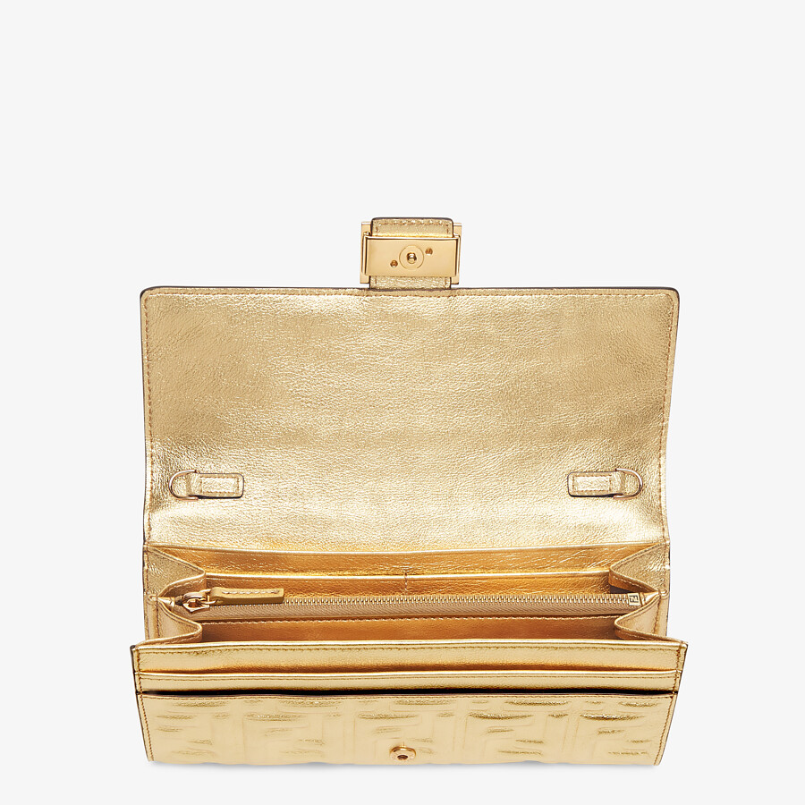 FENDI CONTINENTAL WITH CHAIN - Golden leather wallet - view 4 detail