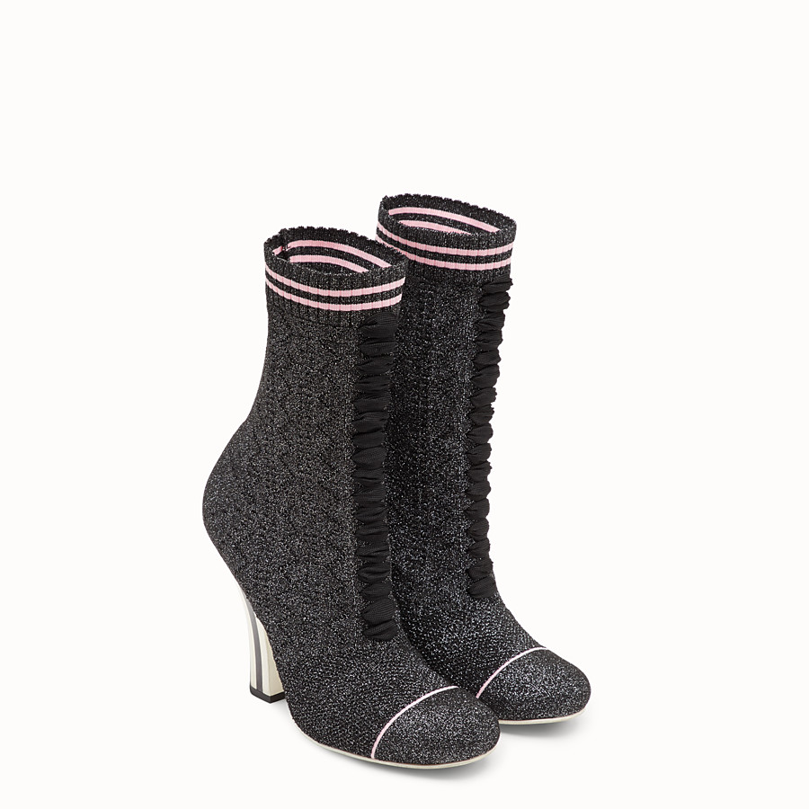 FENDI BOOTS - Boots in black stretch fabric - view 4 detail