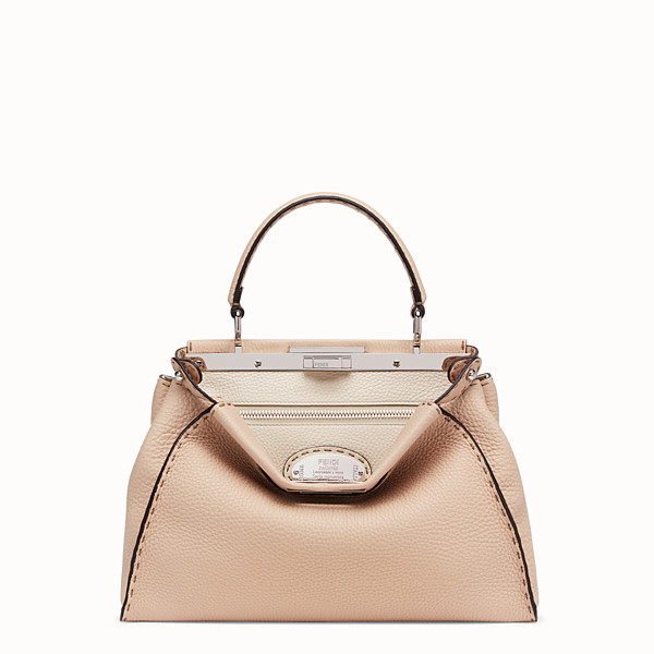 FENDI PEEKABOO ICONIC MEDIUM - Beige leather bag - view 1 small thumbnail