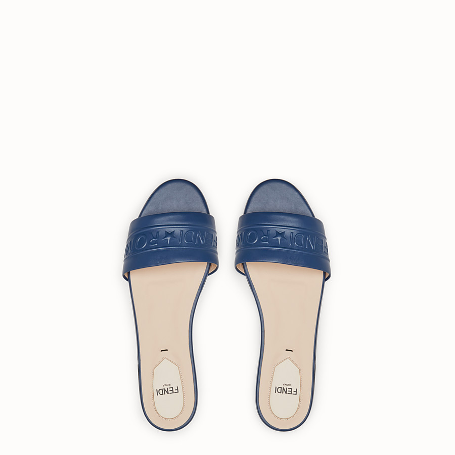 FENDI SLIDES - Blue leather slides - view 4 detail
