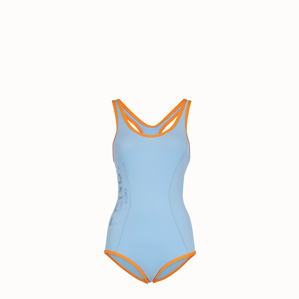 FENDI ONE-PIECE SWIMSUIT - Light blue tech fabric swimsuit - view 1 small thumbnail
