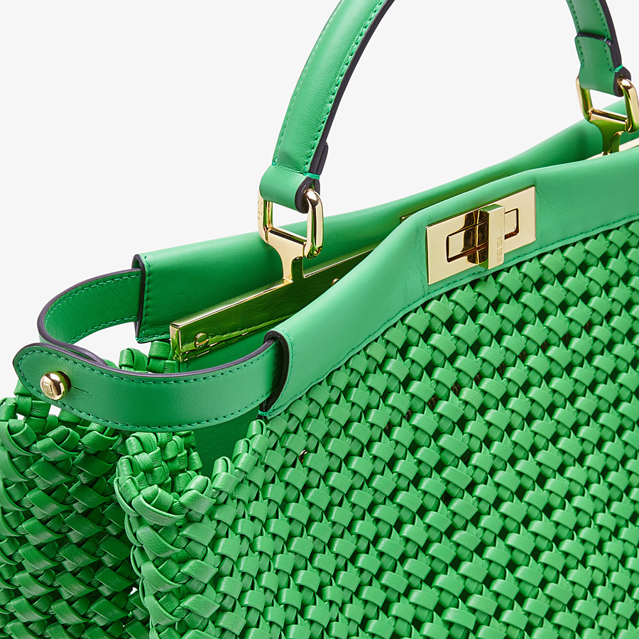 FENDI PEEKABOO ICONIC LARGE - Green leather interlace bag - view 6 detail