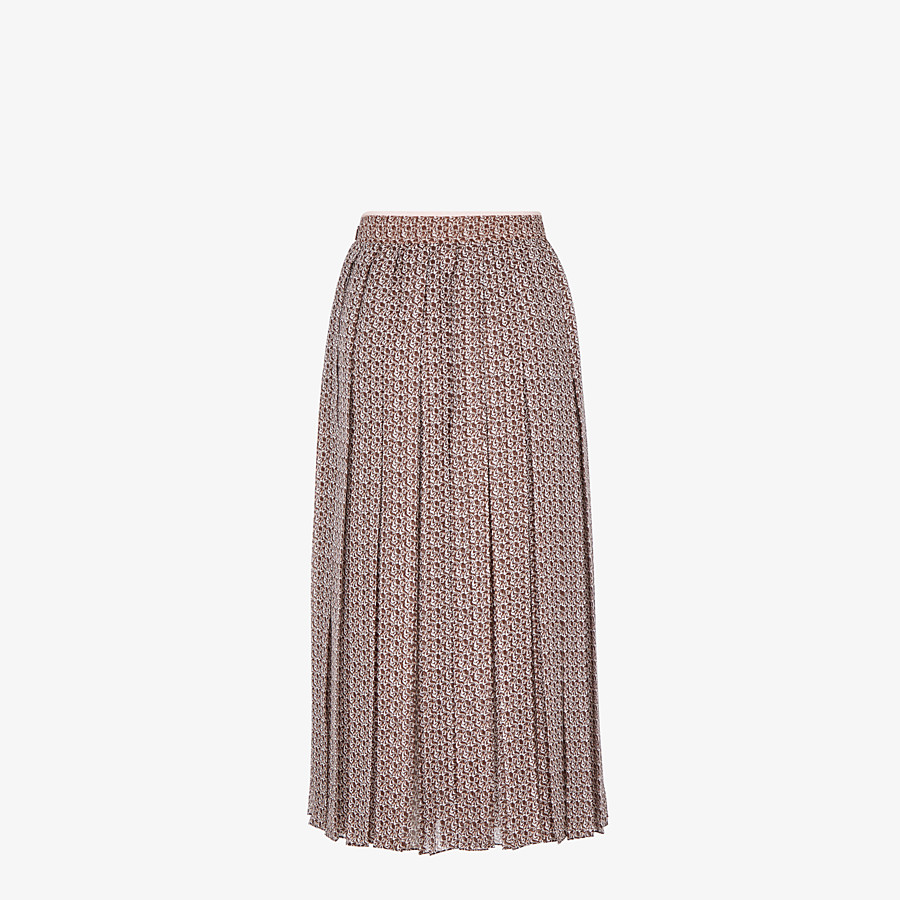 FENDI SKIRT - Skirt in pink and brown silk - view 2 detail