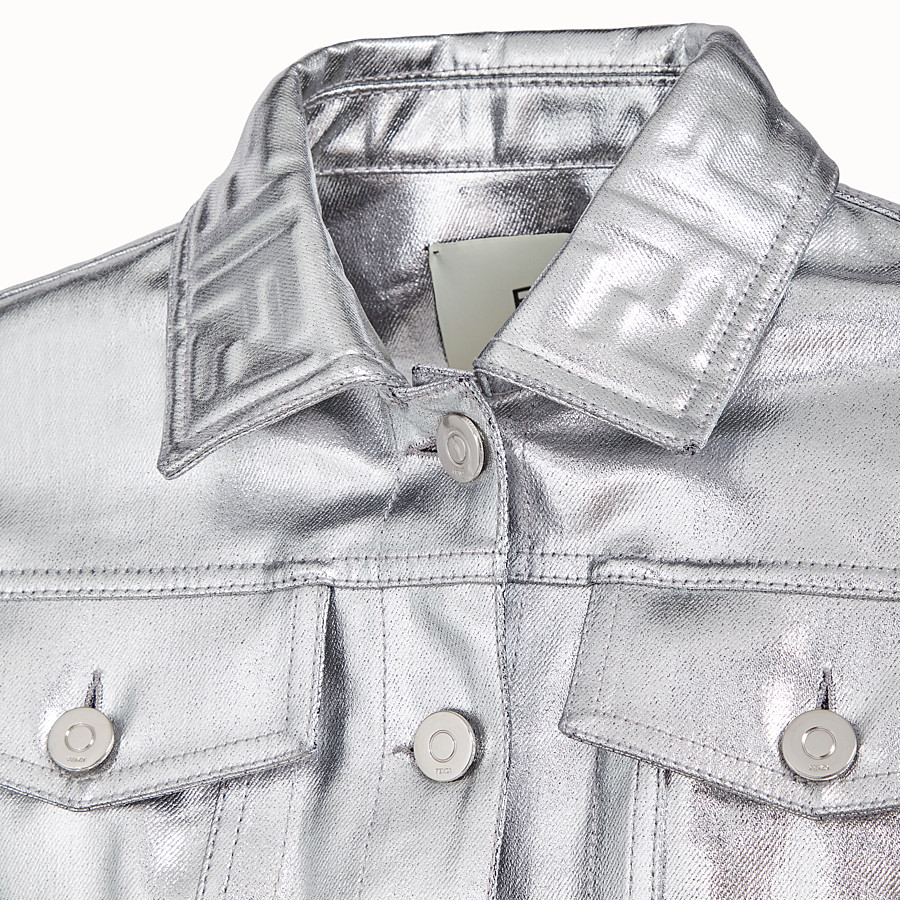 FENDI JACKET - Silver denim jacket - view 3 detail