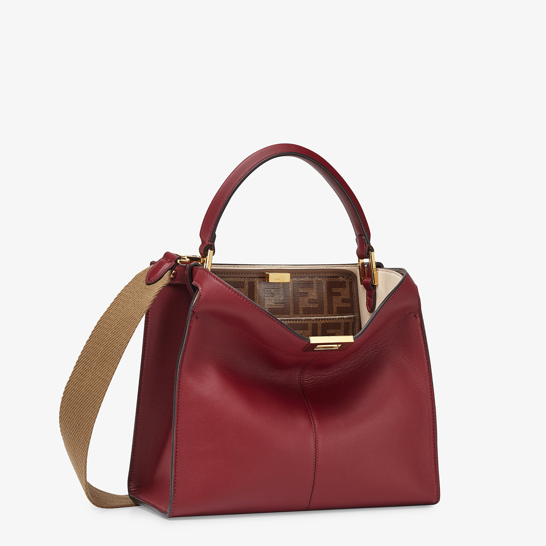 FENDI PEEKABOO X-LITE MEDIUM - Burgundy leather bag - view 4 detail