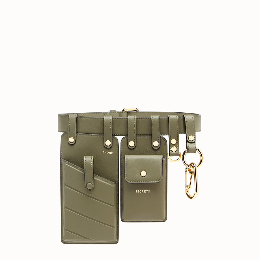 FENDI BELT - Green leather belt - view 1 detail