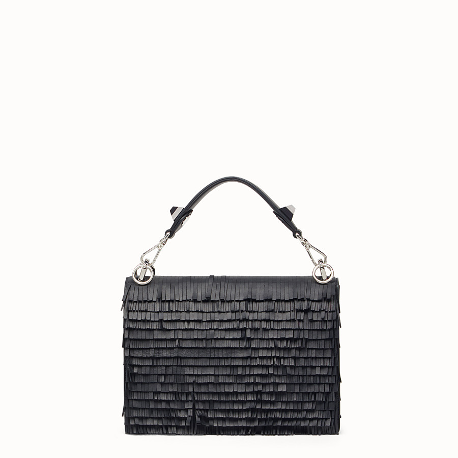 FENDI KAN I - Black leather handbag with fringe - view 3 detail