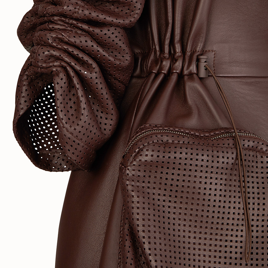 FENDI JACKET - Brown nappa leather jacket - view 3 detail