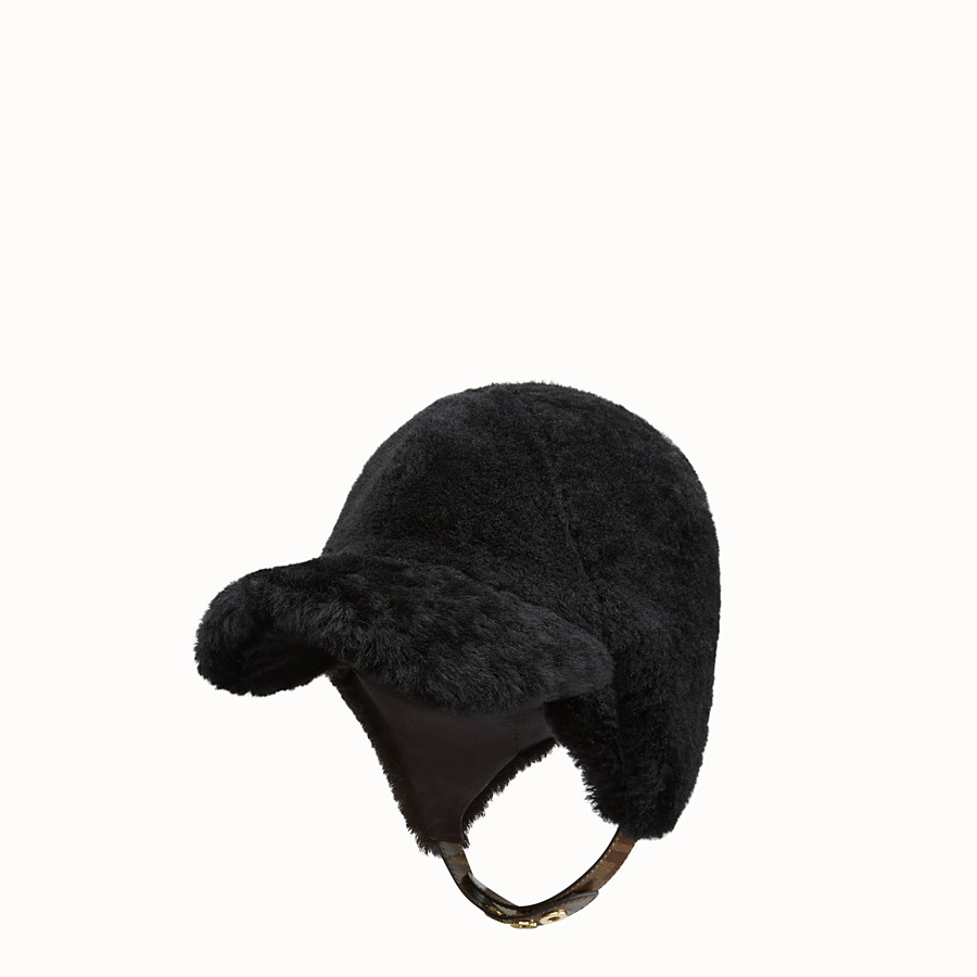 FENDI HAT - Black shearling hat - view 1 detail