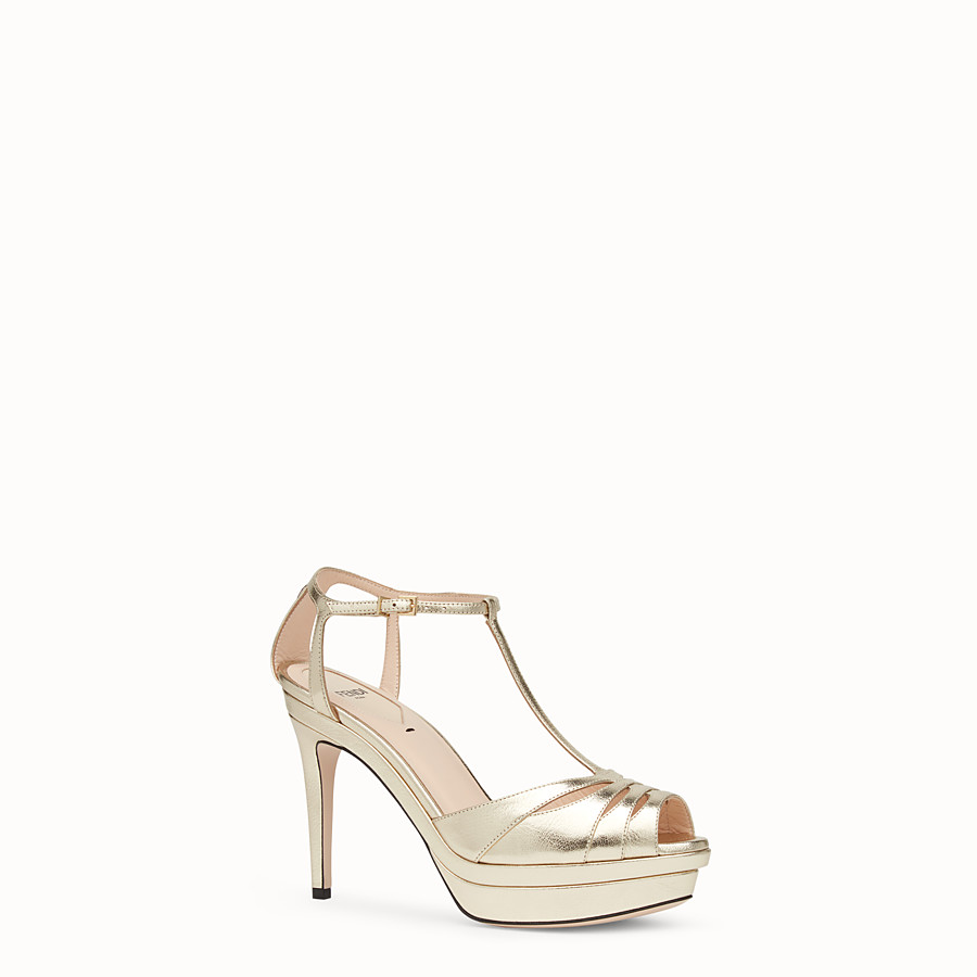 FENDI SANDALS - Gold leather high-heel sandals - view 2 detail