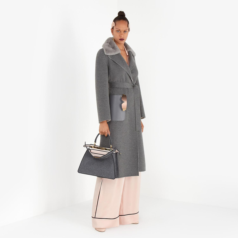 FENDI COAT - Gray double-sided cashmere coat - view 4 detail