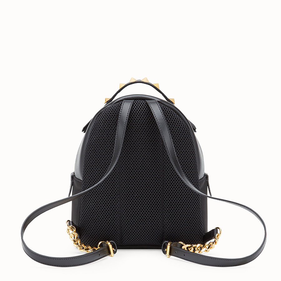 FENDI MINI BACKPACK - Black nylon and leather small backpack - view 3 detail