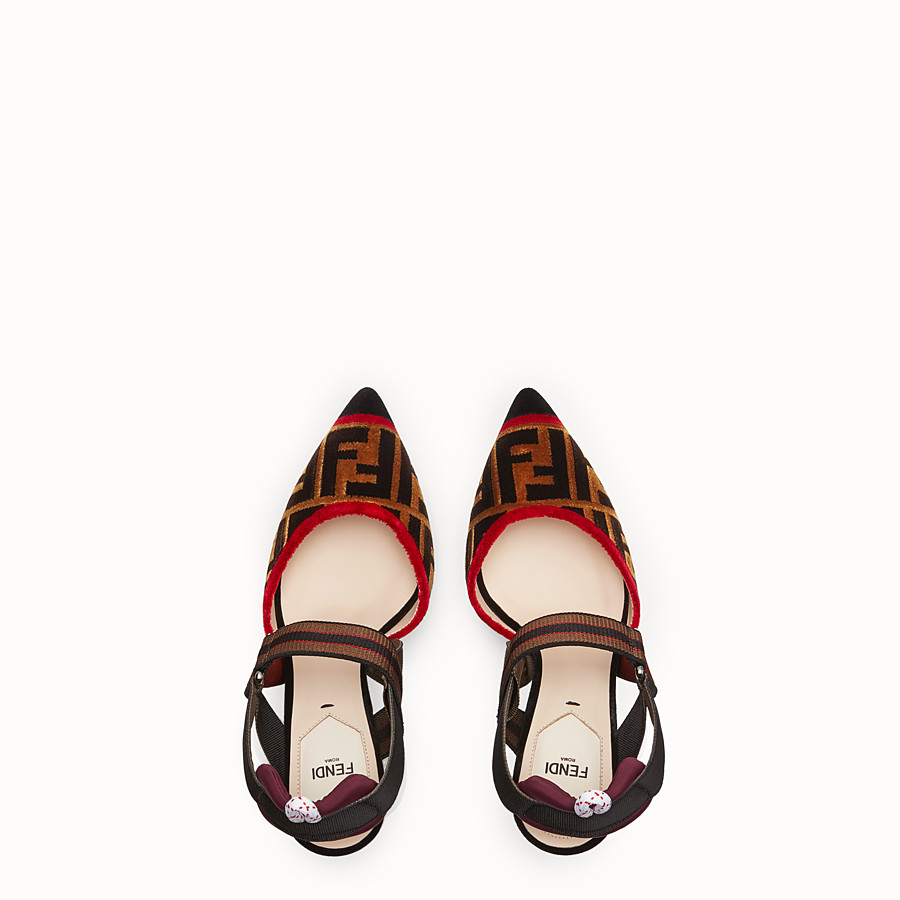 FENDI COURT SHOES - Multicolour fabric slingbacks - view 4 detail