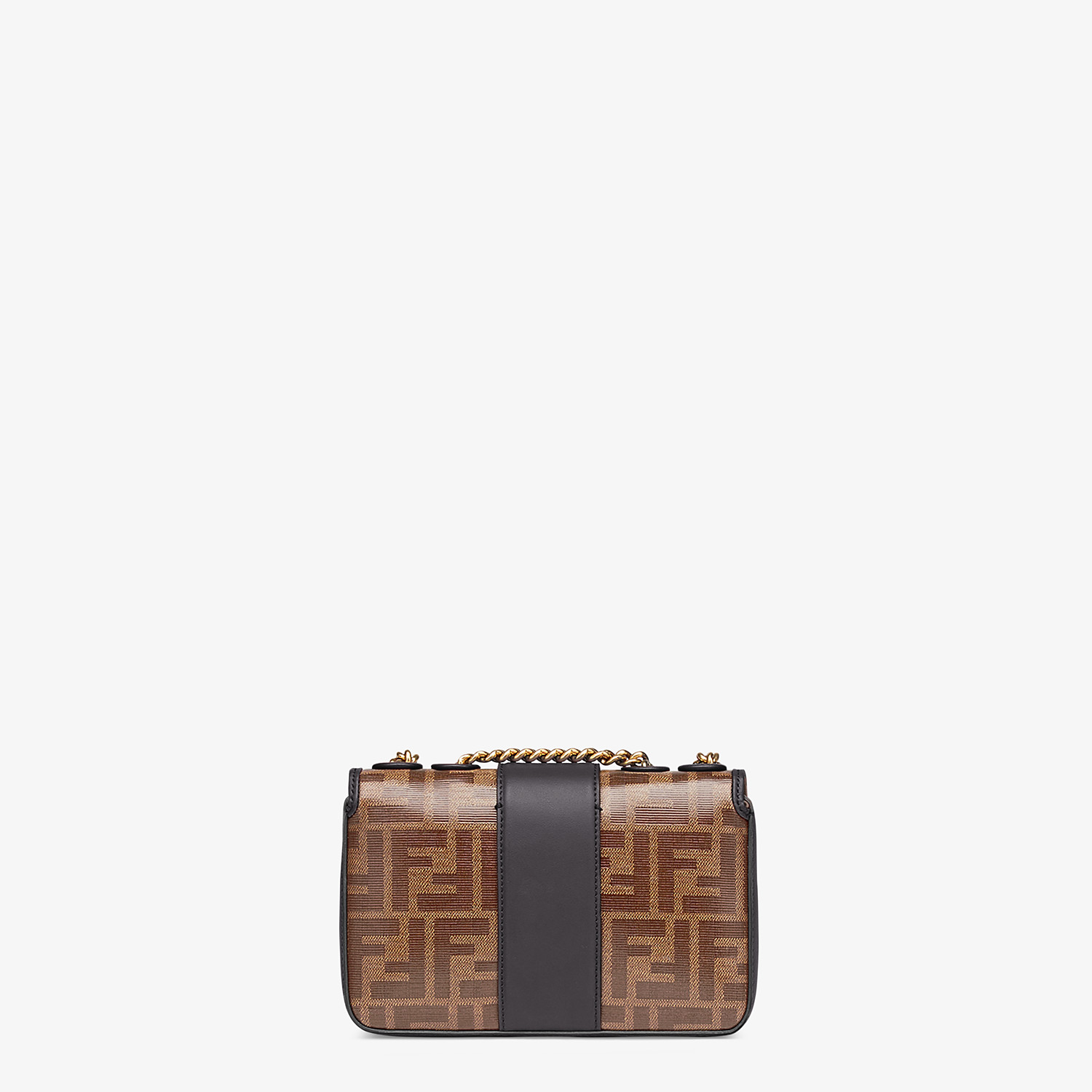 FENDI MINI DOUBLE F - Brown canvas bag - view 3 detail