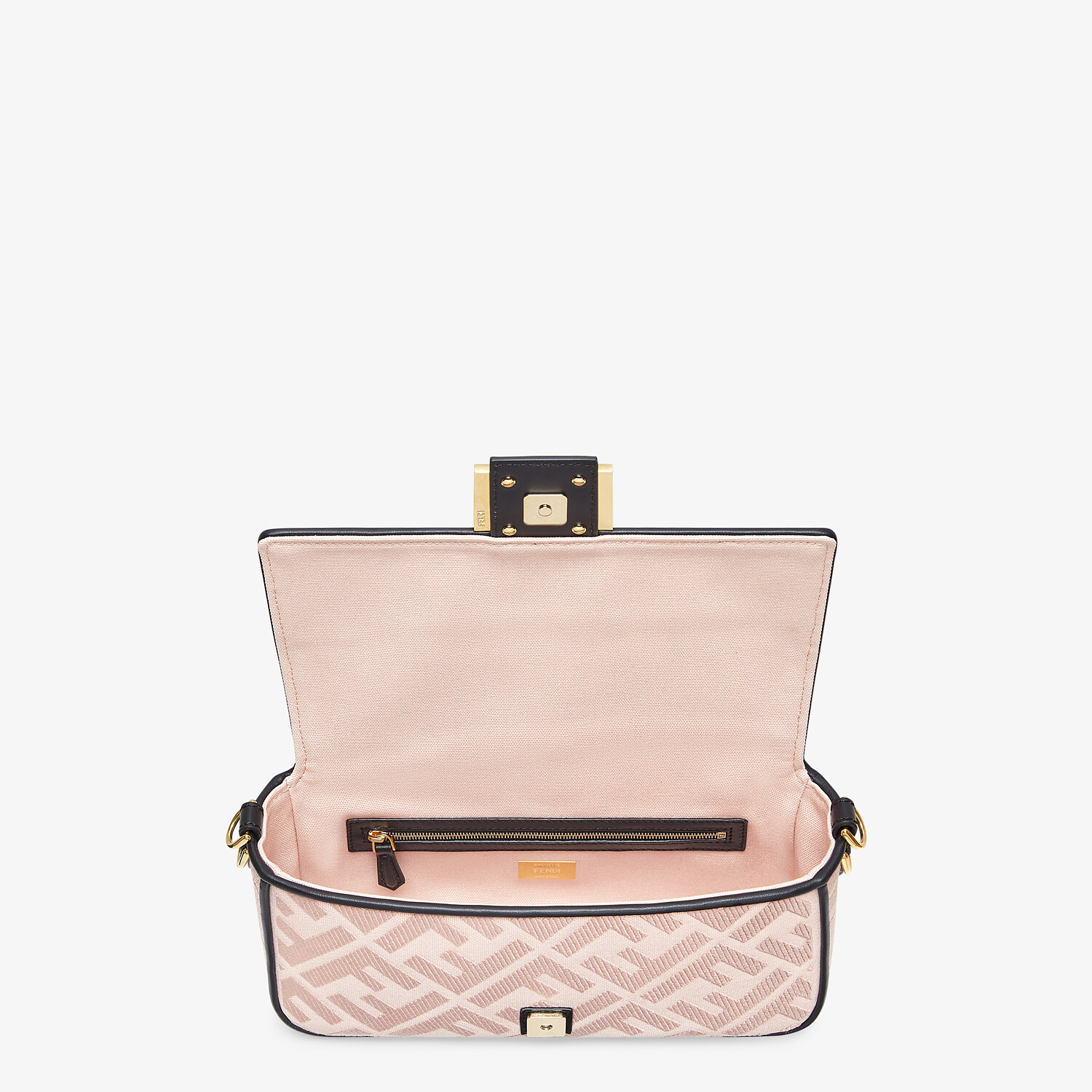 FENDI BAGUETTE - Embroidered pink canvas bag - view 4 detail
