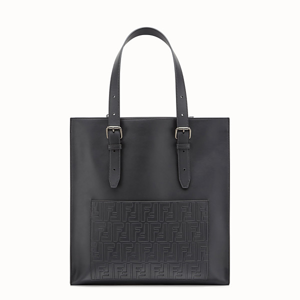 FENDI TOTE BAG - Black leather shopper bag - view 1 small thumbnail
