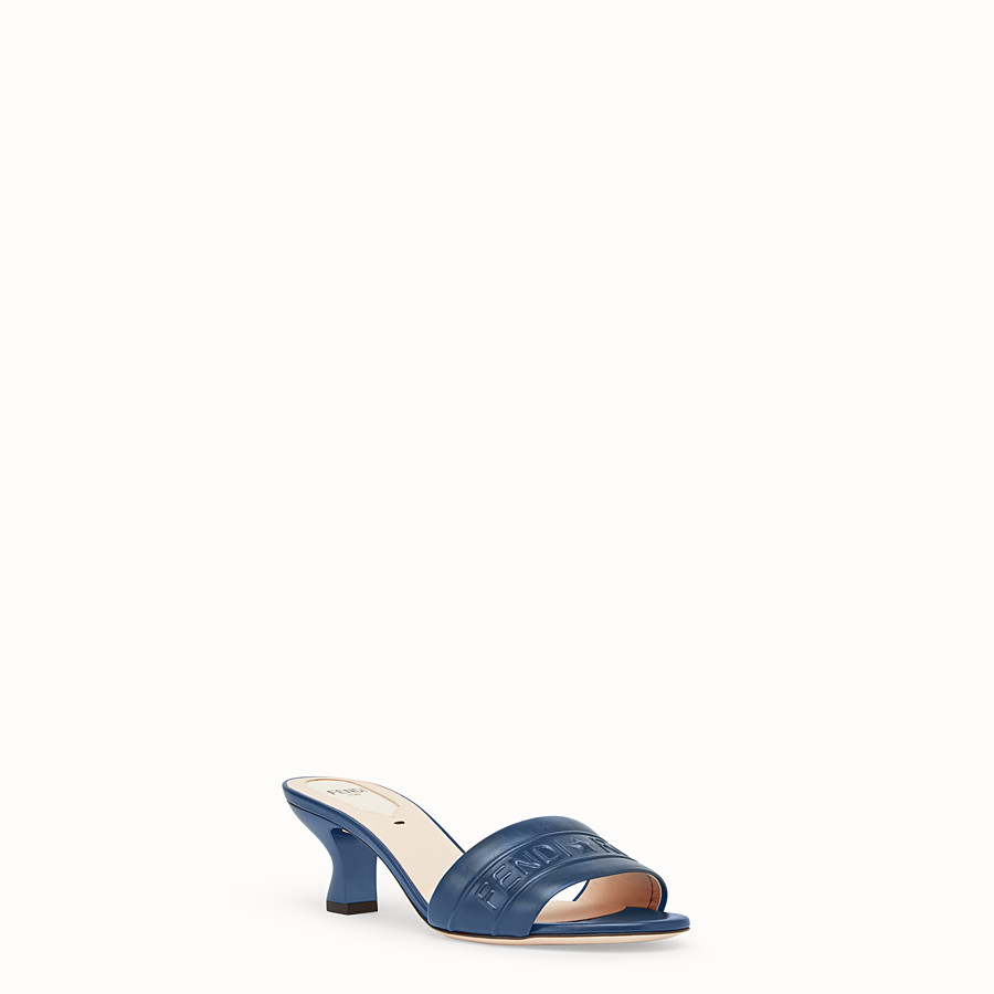 FENDI SANDALS - Blue leather slides - view 2 detail