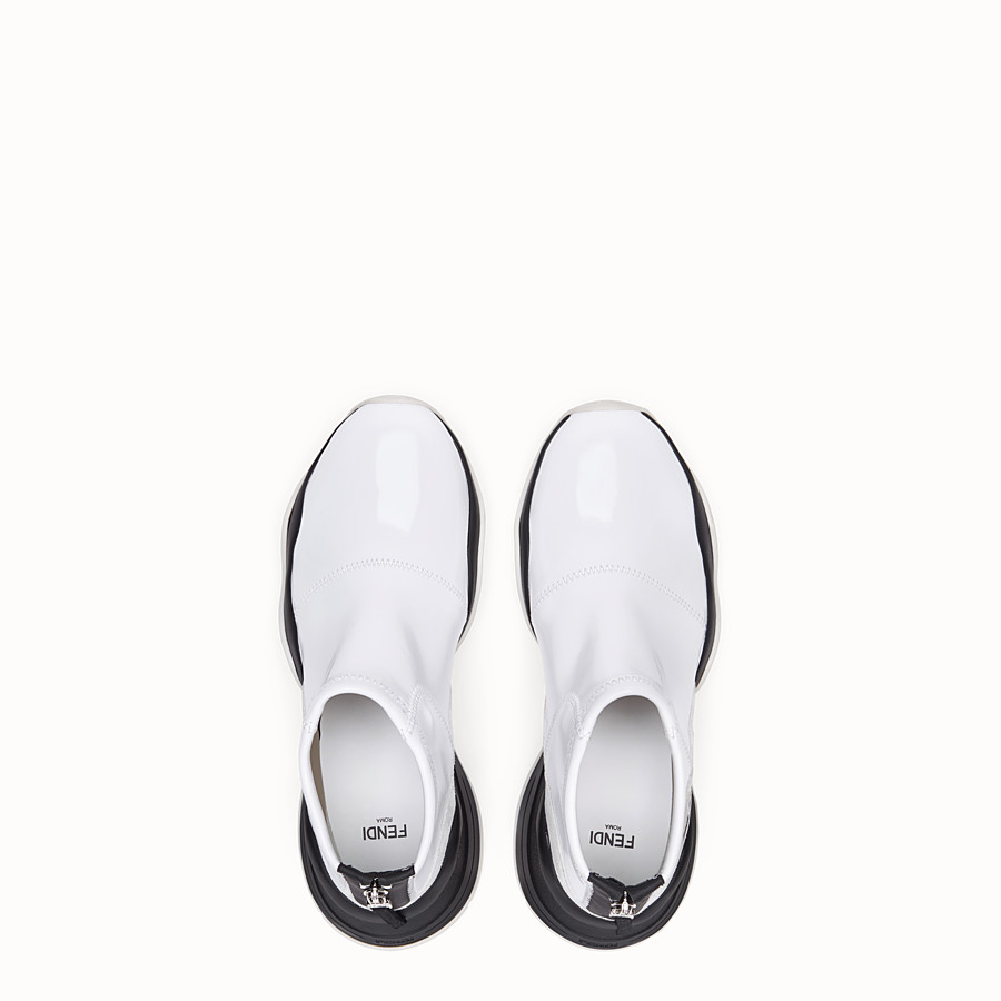 FENDI SNEAKERS - Glossy white neoprene sneakers - view 4 detail