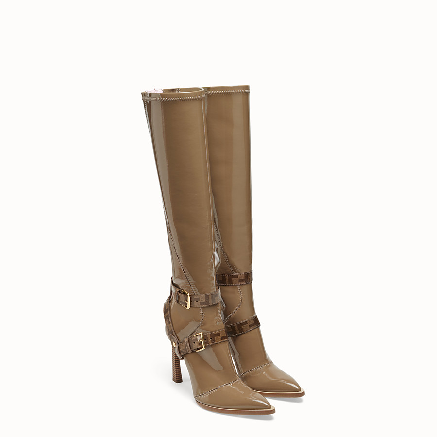 FENDI BOOTS - Glossy beige neoprene boots - view 4 detail